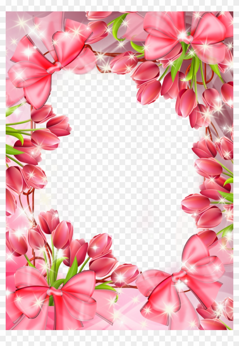 Beautiful Transparent Png Frame With Red Tulips - Beautiful Pink ...
