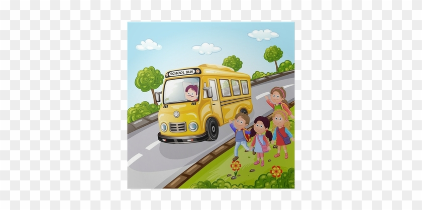 Illustration Of Kids And School Bus In Nature Poster - School Bus Picnic #352800