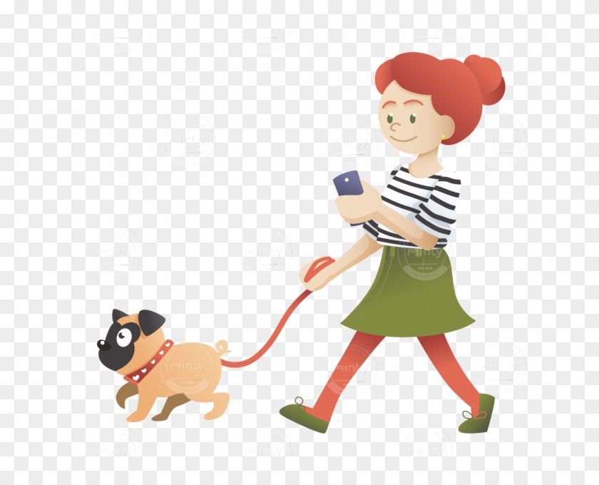 A Redhead Girl Walking With Her Pug And Checking Her - Girl With Pug Clipart #353600