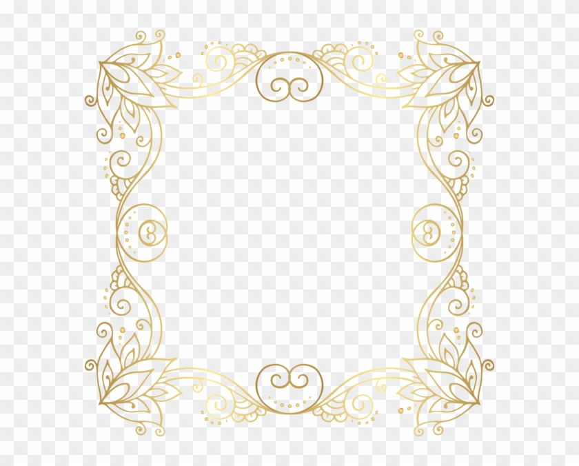 Gold Border Frame Png Clip Art Image - Curly Borders Gold Png #355866