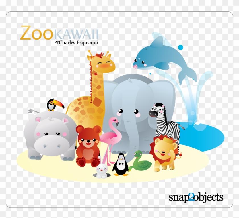 Free Vector Kawaii Zoo - Zoo Animals Cartoon Vector #356208