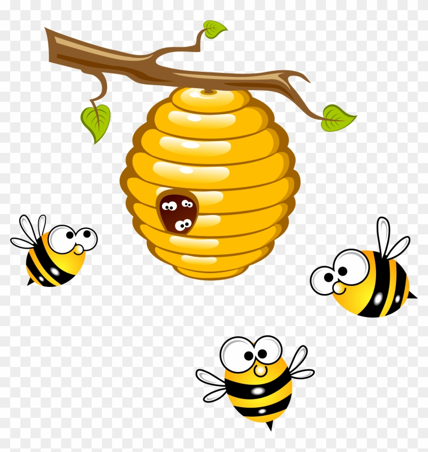 Beehive Honey Bee Wasp Clip Art - Bee And Beehive Clipart #356287