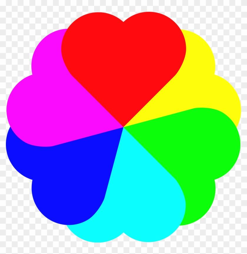 Rainbow Flower Cliparts 5, Buy Clip Art - Rainbow Love Heart Clipart #356832