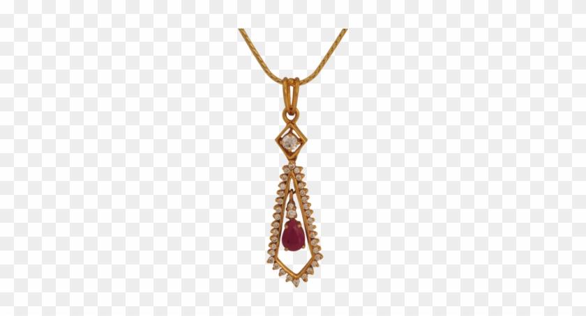 Maya Diamond Ruby Gold Pendant - Jewellery - Free