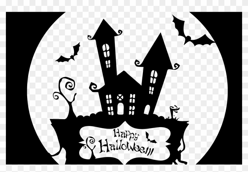Haunted House Clipart Pumpkin Stencil - Happy Halloween Haunted House Shirt #358146