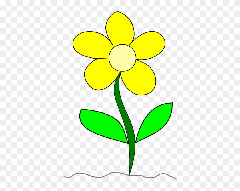 Yellow Flower with Stem Clip Art