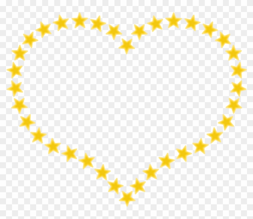 Heart Shaped Border With Yellow Stars - Star Heart Png #360027