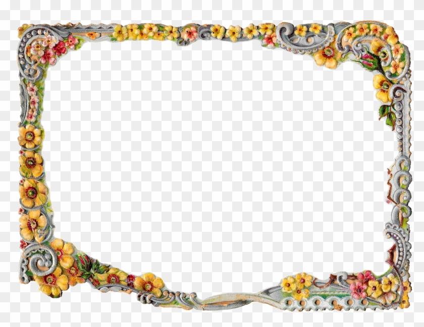 Printable Flower Frame Digital Crafting Floral - Flower Frame Border Design Png #360275