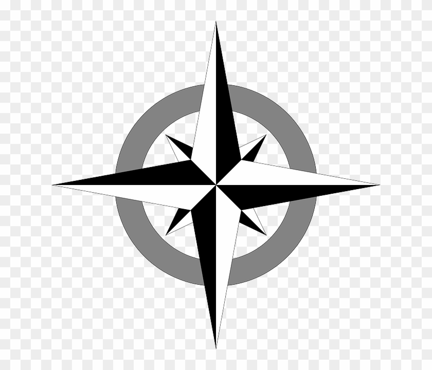 Wind Rose Cartography, Compass, Map, Compass Rose, - Simple Compass Rose Vector #360641