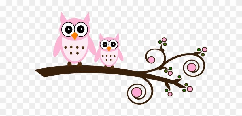 Pink Owl On Branch Clip Art At Clker Com Vector Clip - Baby Owls Clip Art #361394