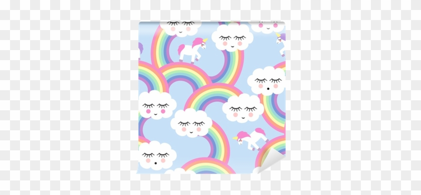 Seamless Pattern With Smiling Sleeping Clouds And Rainbows - Fundo Nuvem E Arco Iris #363160