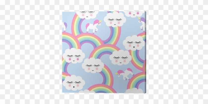 Seamless Pattern With Smiling Sleeping Clouds And Rainbows - Fundo Nuvem E Arco Iris #363164