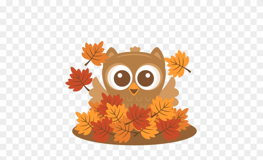 Owl In Leaves Svg Scrapbook Cut File Cute Clipart Files - Cute Fall Owl Clipart #365752
