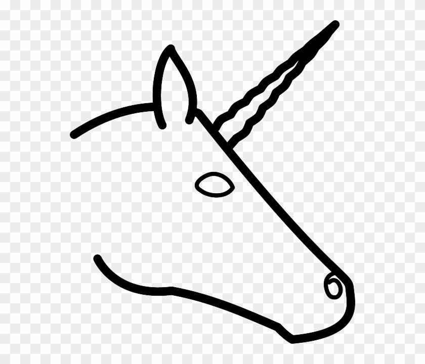 Unicorns Head, Profile, Silhouette, Cartoon, Horse, - Draw A Unicorn Head Easy #365774