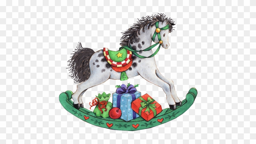 Rocking Horse With Presents - Christmas Rocking Horse Clipart #366271