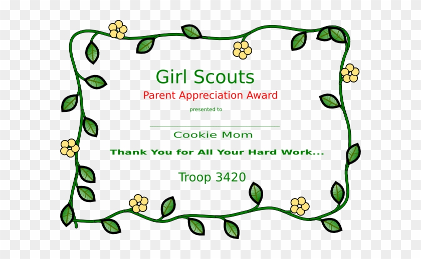 Girl Scout Cookie Mom Certificate Clip Art At Clker - Girl Scout Volunteer Awards #366442