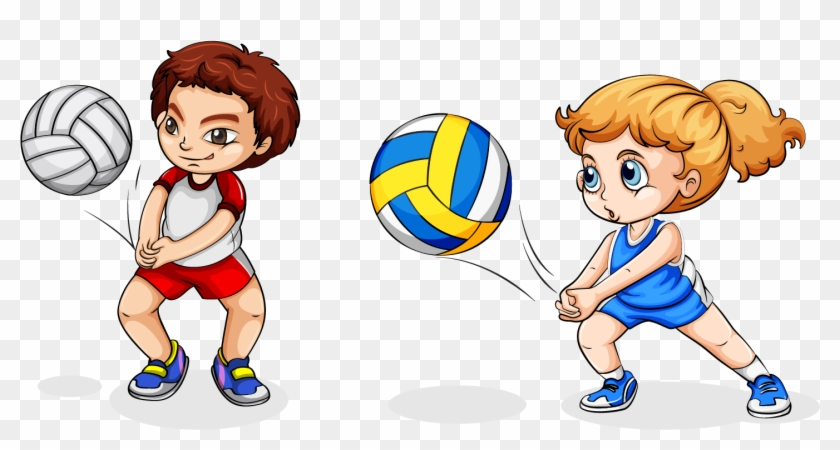 Volleyball Play Girl Clip Art - Play Volleyball Cartoon #366585