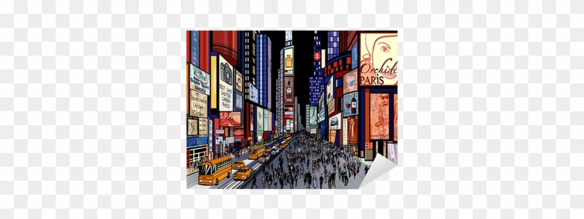 Night View Of Times Square Sticker • Pixers® • We Live - Times Square Illustration #367204