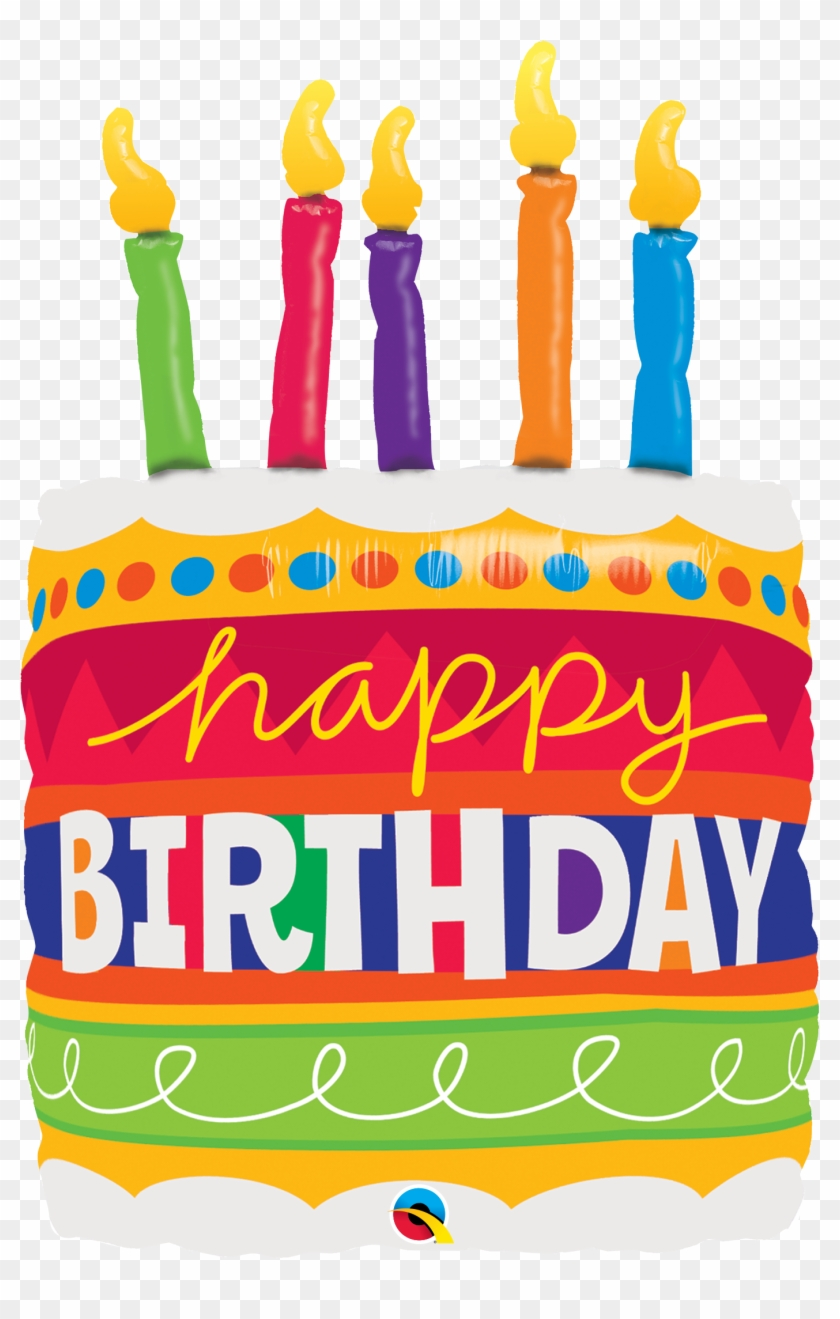 "35"" Happy Birthday Cake And Candles Foil Balloon - Feliz Cumpleaños Pastel Png #368587"