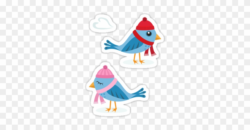 Cute Cartoon Stickers Featuring Two Blue Birds And - Love Birds In The Snow Card #370558