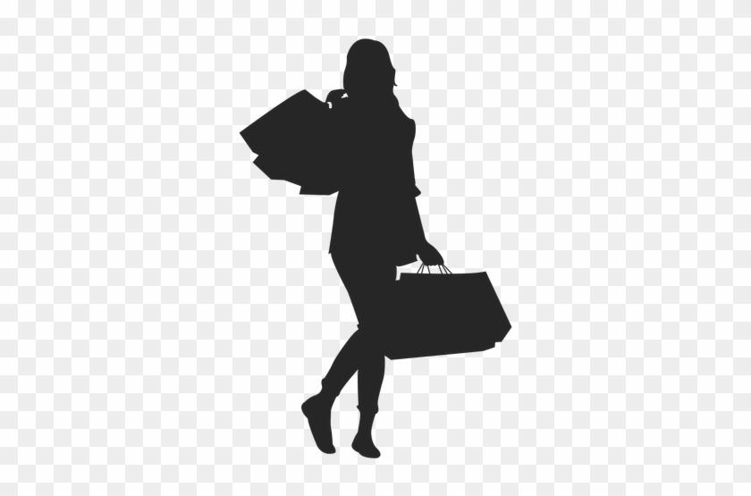 Black Silhouette Woman Purple Shopping Bag Clipart - Logo Shopping Silhouette #370953