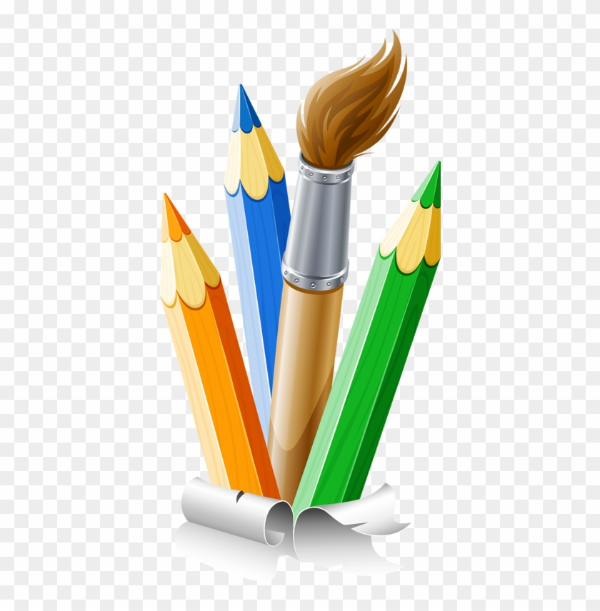 Color Clipart Paintbrush - Pencils And Paint Brushes #371422