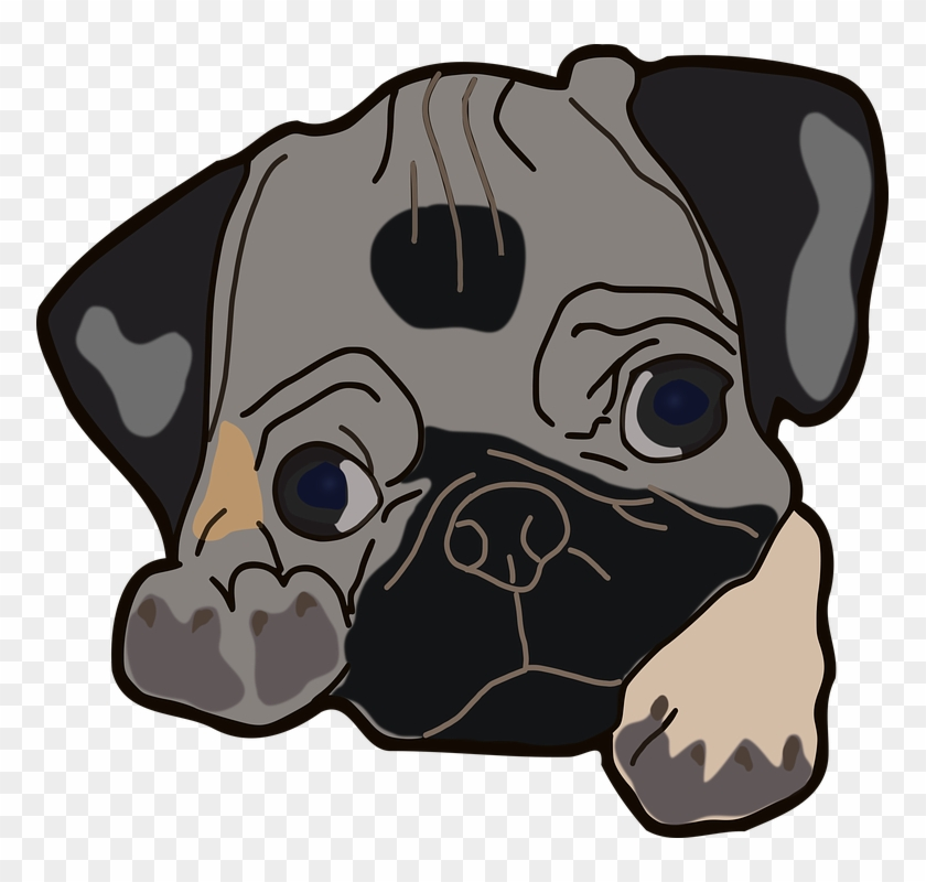 Scared Dog Cliparts 28, - Pug Clipart Png #371778