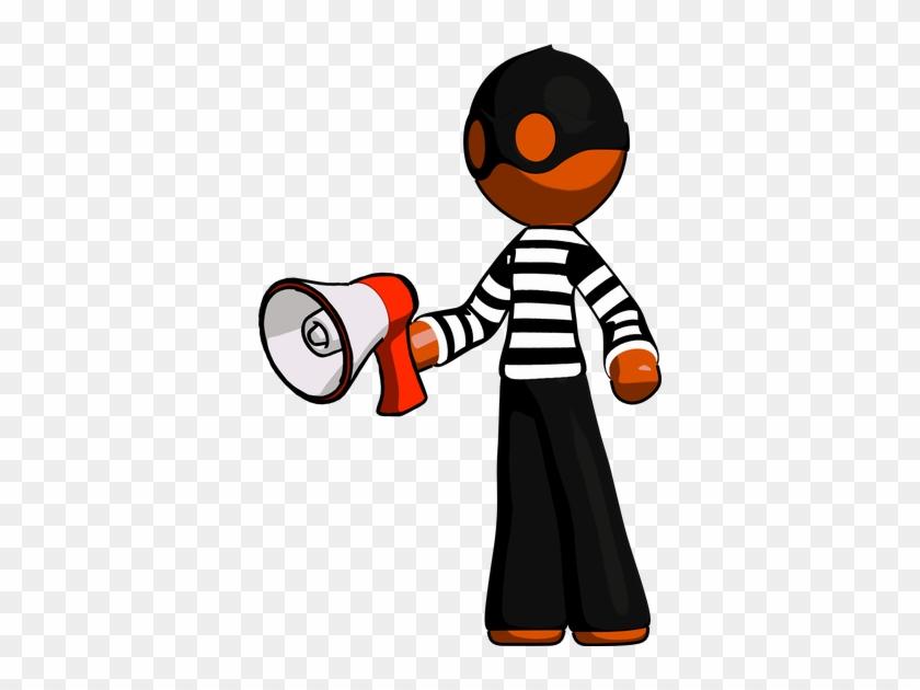 Orange Thief Man Holding Megaphone Bullhorn Facing - Megaphone #372805