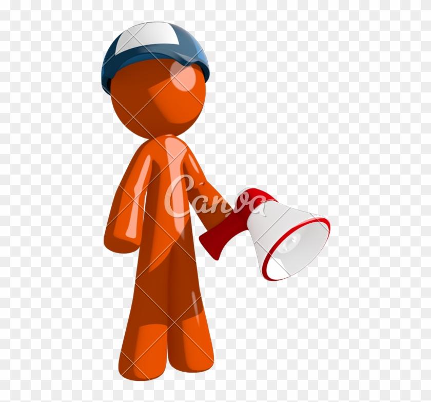 Orange Man Postal Mail Worker Holding Megaphone And - Cartoon #372902