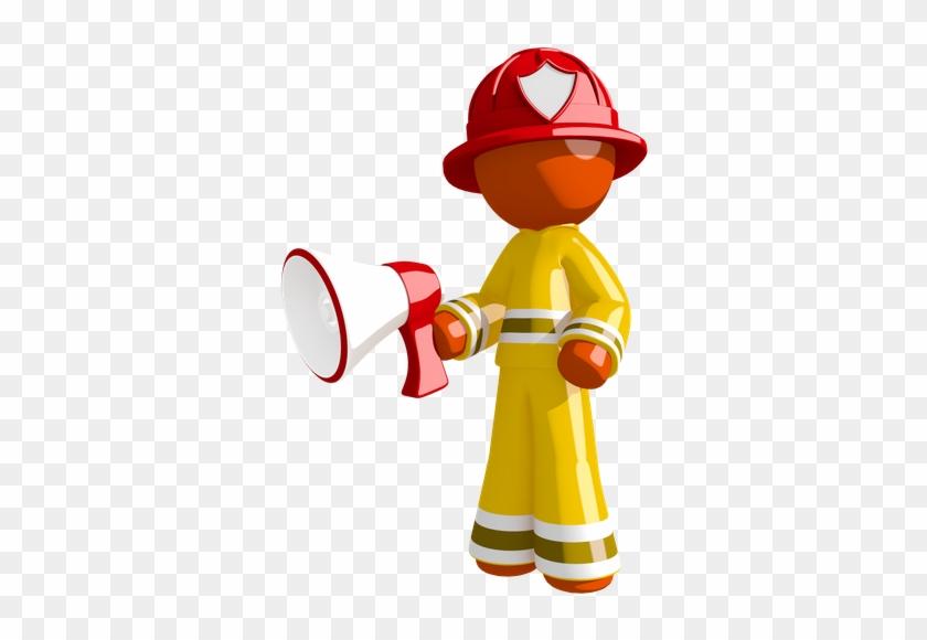 Orange Man Firefighter Holding Megaphone - Firefighter #372933