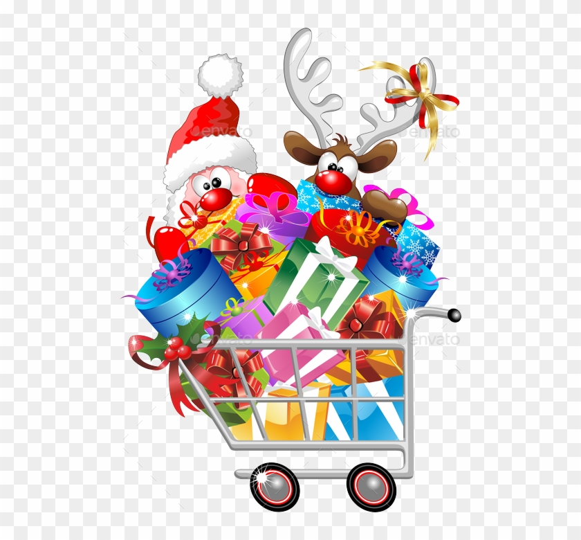 Reindeer On Shopping Cart Png Preview Santa Cartoon - Funny ...