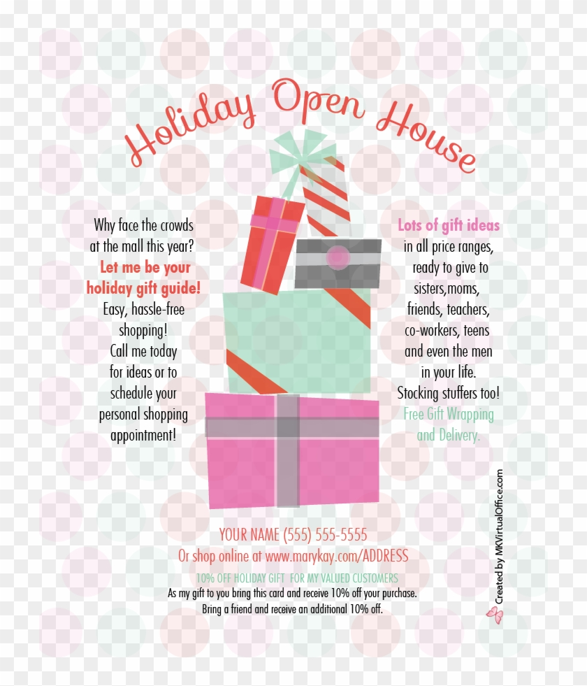 Stack Of Presents - Mary Kay Holiday Open House Flyer #373663