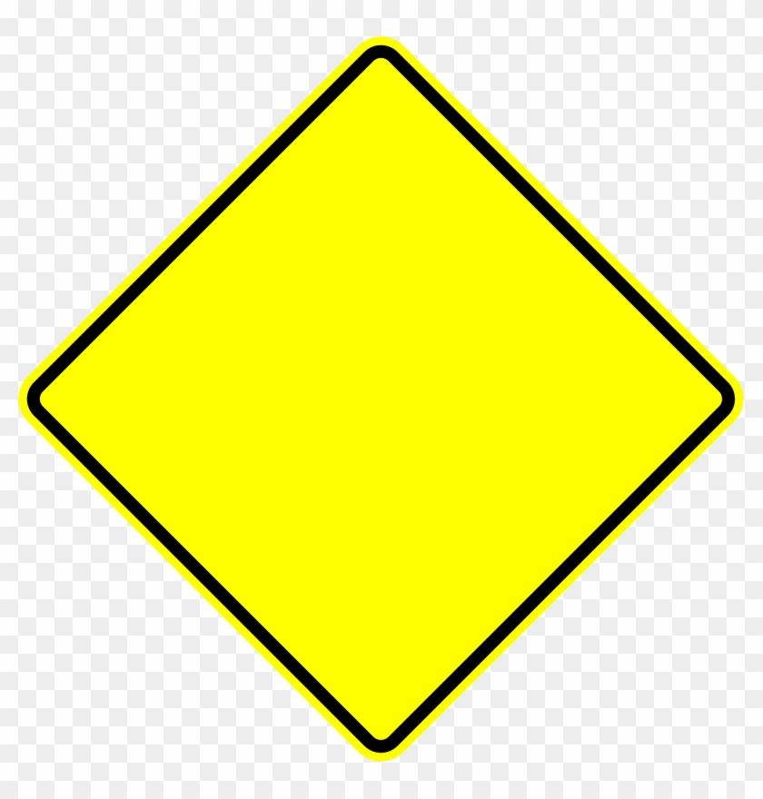 Warning Sign Transparent Pictures To Pin On Pinterest - Blank Yellow Diamond Road Sign #374010
