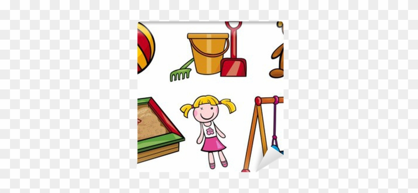 Toys Objects Cartoon Illustration Set Wall Mural • - Cartoon Swing Set #374428