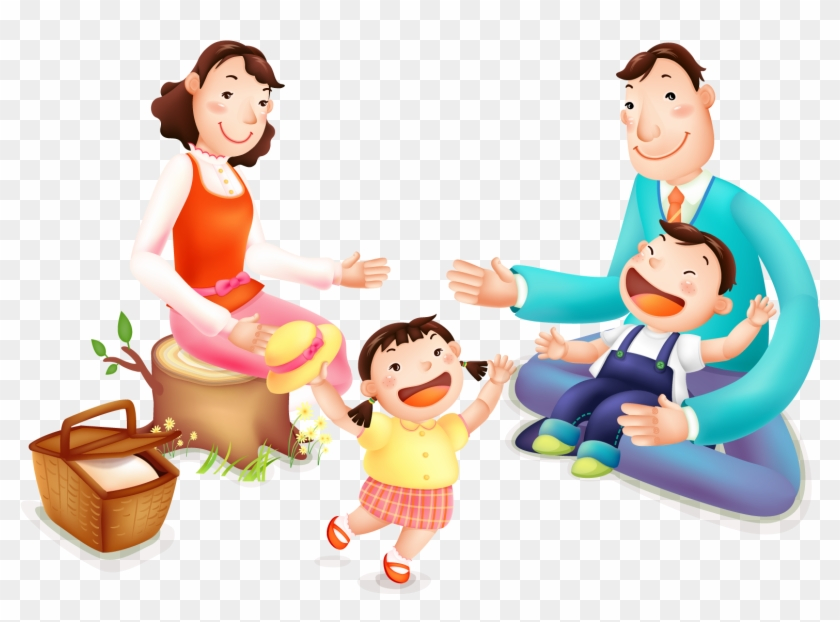 Beijing Cartoon Skewdoku Poster Illustration - Family Picnic Vector Png #374548