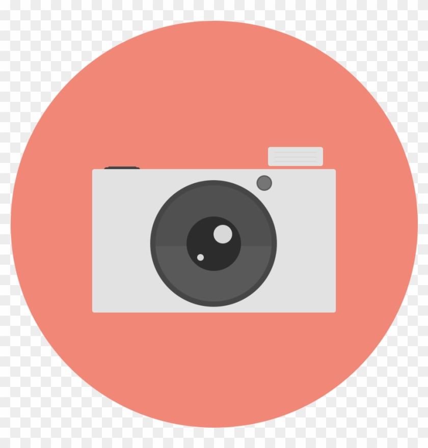 Flat Designed Circle Icon - 3d Photo Camera Vector #374661