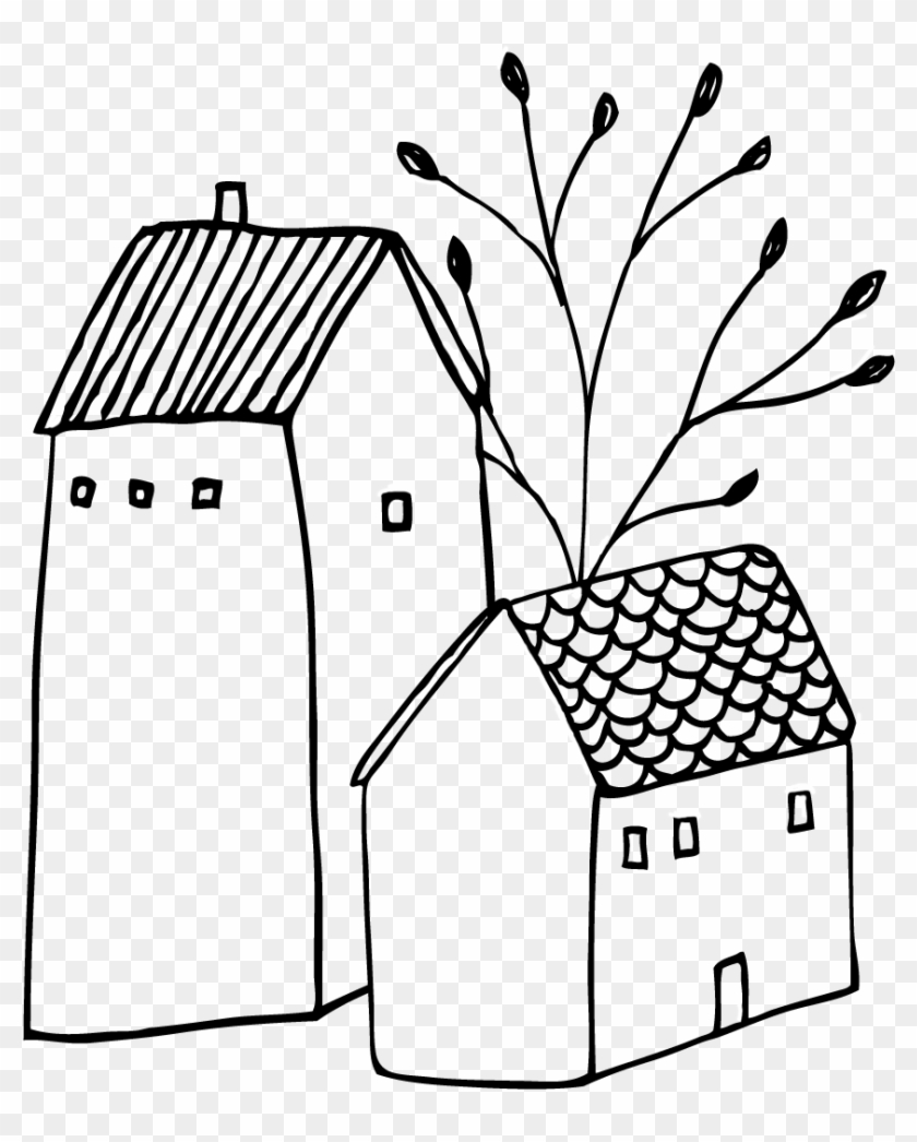 Hand Drawn Clip Art Illustrations Small Town Doodles - House Doodle Png #374762