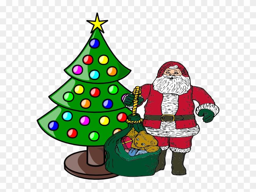 Christmas Tree With Santa Claus Clip Art At Clker Com - Santa Claus And Christmas Tree Clip Art #375386