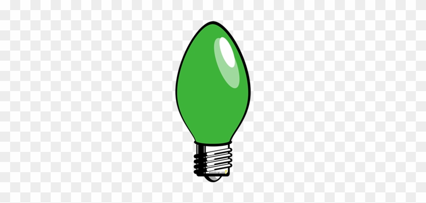 Christmas Lights Clipart Green Pencil And In Color - Red Christmas Tree Light Bulb Greeting Card #376718