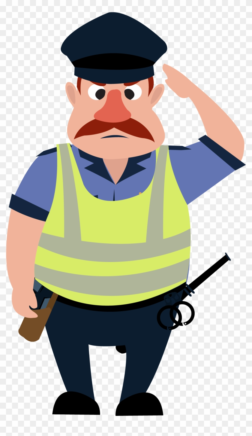 salute police officer security guard cartoon people s security