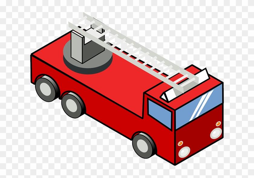 Engine, Cartoon, Truck, Ladder, Trucks, Iso - Fire Truck Clip Art #377548