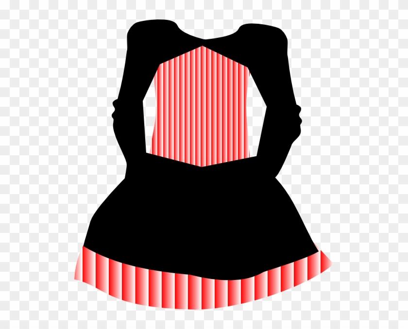 Red White Striped Dress Clip Art - Striped Dress Clipart #378492