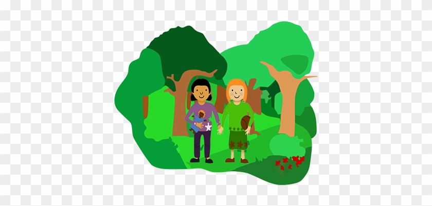 Girls In Forest - Two Girls In Cartoon In The Forest #378505