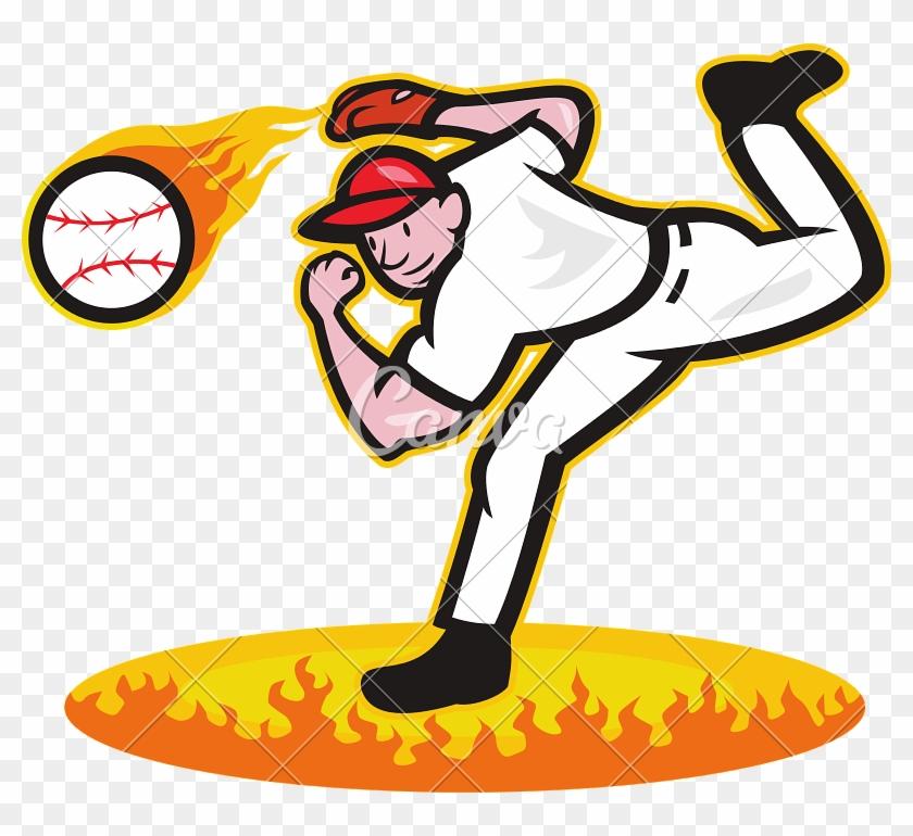 Baseball Pitcher Throwing Ball On Fire - Baseball Player Pitcher Cartoon #379925