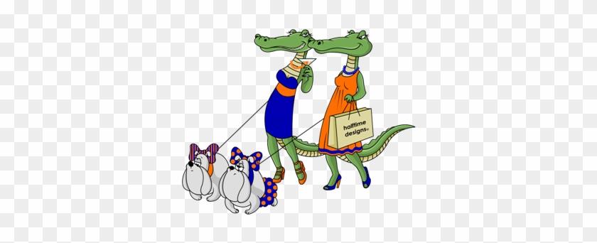 Gator Ladies Walking Their Bulldogs - Gator Girls W/ Dawgs Large Mug #380113