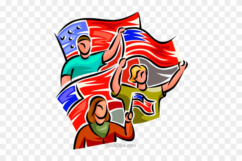 People Waving American Flags Royalty Free Vector Clip - People Waving American Flags Royalty Free Vector Clip #380676