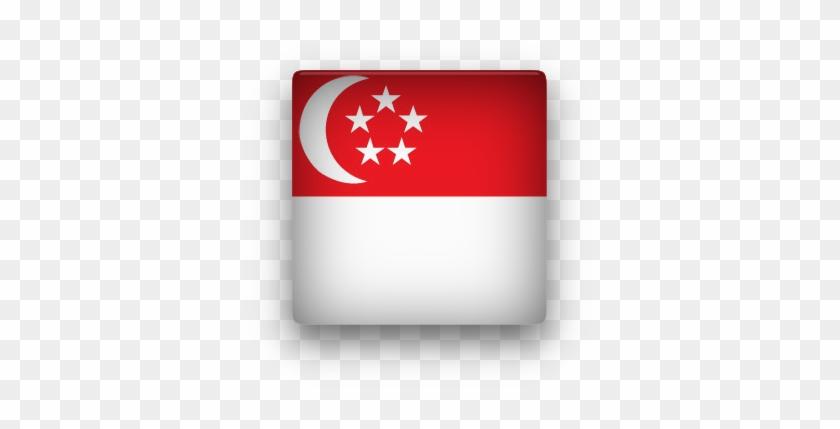 Singapore Square Button Clipart - Flag Icons Singapore Small