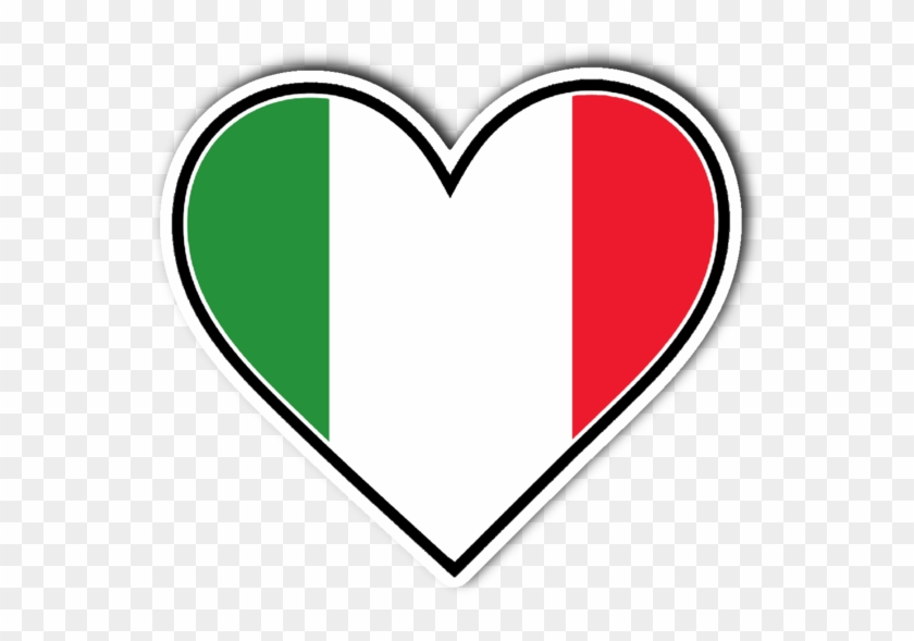 Italian Flag Heart Vinyl Die Cut Sticker - Italian Flag Heart #381380
