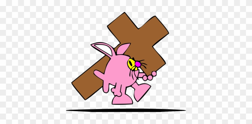 Easter Bunny Clip Art Cross - Easter Bunny Carrying Cross #382313