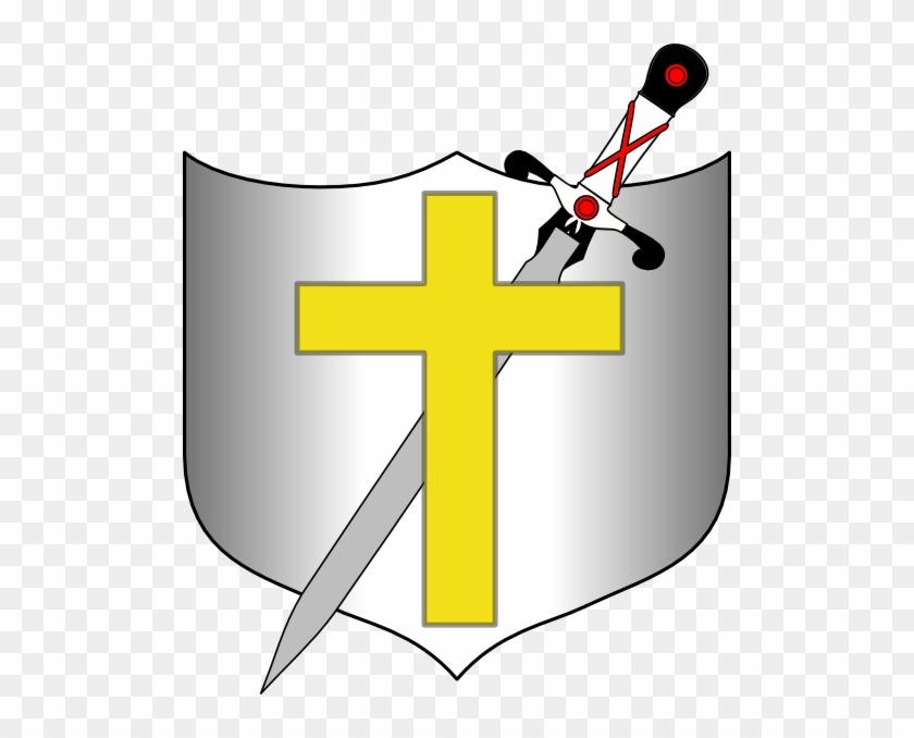 Cross Sword And Shield Clip Art At Clker Com Vector - Cross Shield And Sword #382374